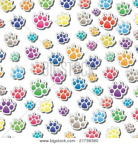Vector Background Of Dog's Foot Prints