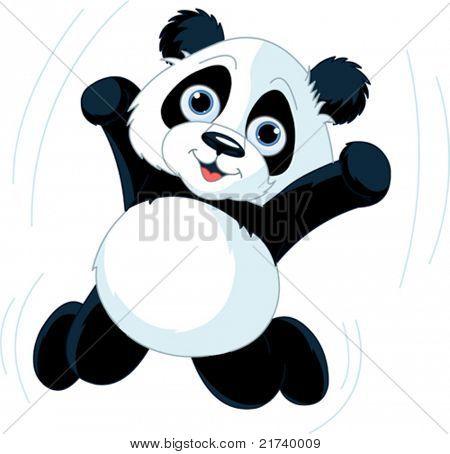 Heel schattig springen gelukkig panda