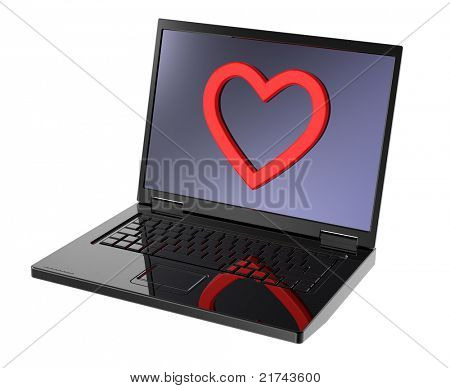 Laptop with heart on the screen isolated over white background