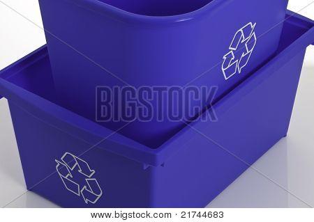 Close-up of blue bin