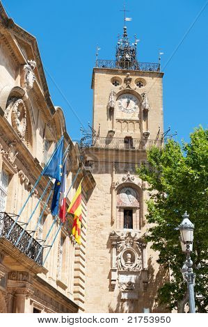 The clock tower in the center of Aix-en-Provence