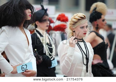 MOSCOW - OCTOBER 2: Beautiful models with extraordinary hairdo at XVII International Festival