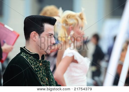 MOSCOW - OCTOBER 2: Young man with beautiful hairstyle at XVII International Festival