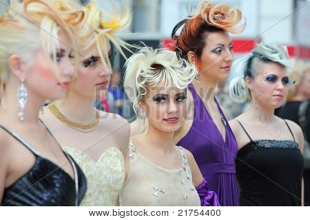 MOSCOW - OCTOBER 2: Five models with fanciful hairdos at XVII International Festival