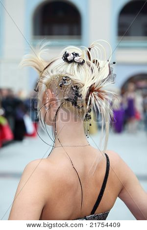 MOSCOW - OCTOBER 2: Back of woman with fanciful hairdo at XVII International Festival