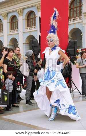 MOSCOW - OCTOBER 2: Beautiful model with fanciful hairdo at XVII International Festival