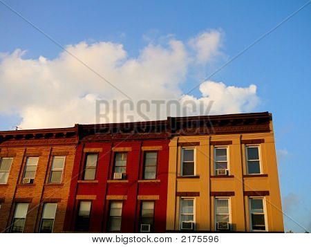 Block Of Colorful Brooklyn Apartment Buildings