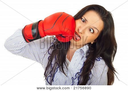 Funny Woman Hit Itself