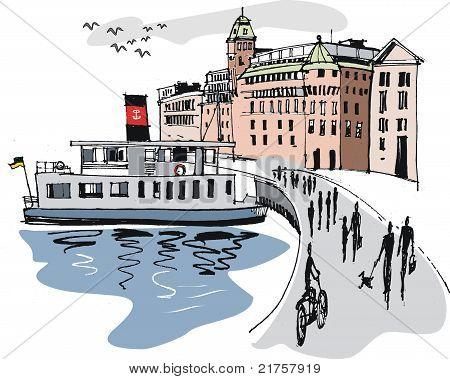 Stockholm harbour illustration