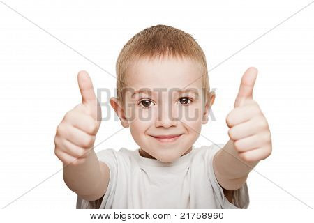 Child Gesturing Thumb Up