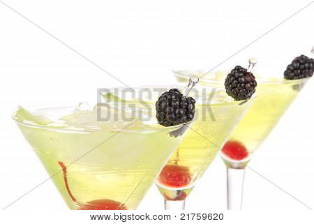 Yellow Green Martini Cocktails Row Composition With Alcohol