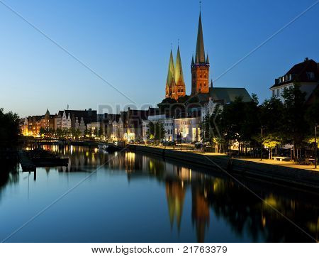Night Shot Of Lubeck Old Town