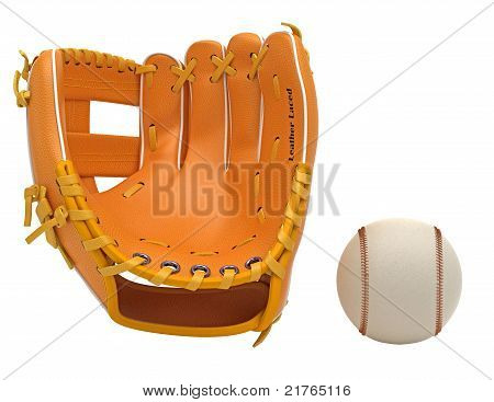 Sports: Baseball Glove And Ball Isolated