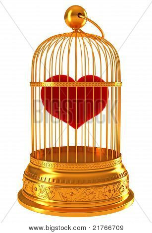 Imprisoned Love: Red Heart In Golden Cage
