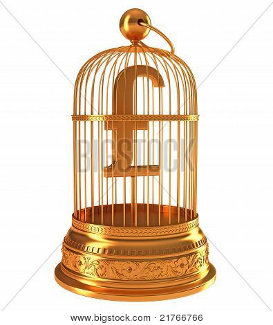 Pound Currency Symbol In Golden Cage
