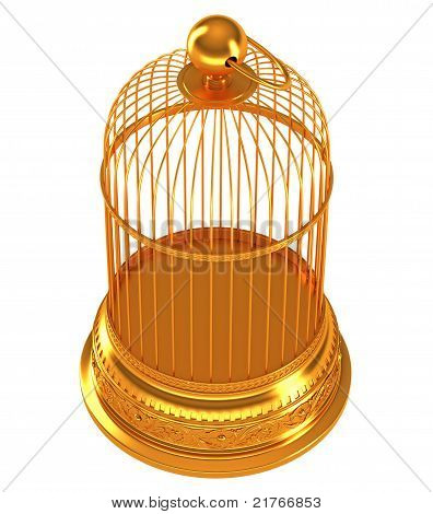Top Side View Of Golden Birdcage Isolated