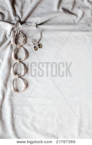 Silver Bracelet And Earrings