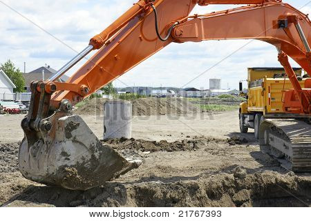 Orange Digger And Yellow Dump Truck