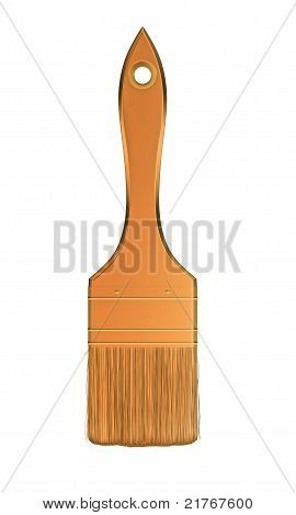 Housework And Renovation: Golden Paintbrush Isolated