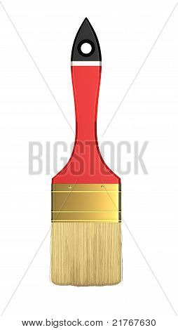 Housework And Renovation: Red Paintbrush Isolated