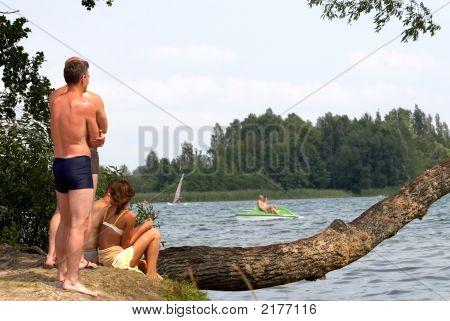 People On Lake