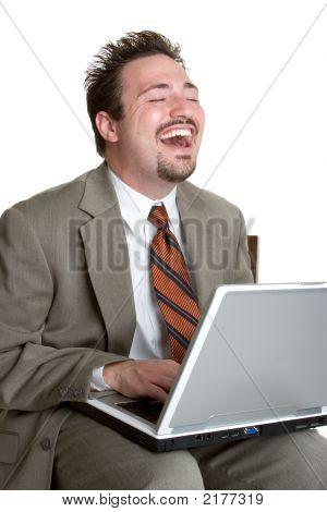 Laughing Laptop Businessman