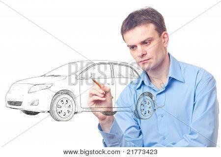 Men Drawing A Car.