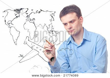 Businessman Drawing Plane And World Map