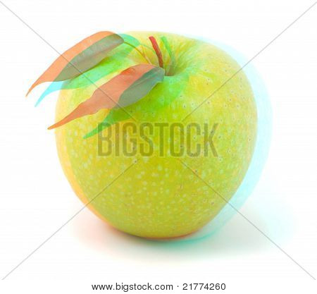 3D Anaglyph Stereo Image Of Green Apple On White.