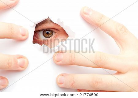 A Man Looks Out A Hole
