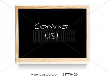 Clean black board with contact us concept