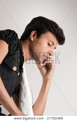 Indian man thinking position with closed eyes