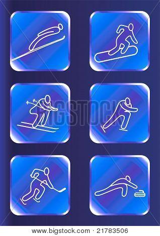 Winter sports icons set.