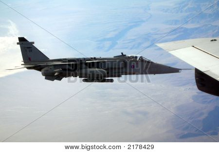 British Harrier Flying Formation With Tanker