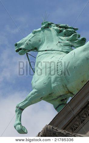 Horse of a  quadriga on Jubelpark arch, Brussels