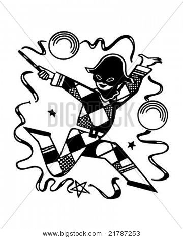 Harlequin Jester - Retro Clipart Illustration
