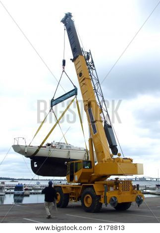 Crane Lifts Boat