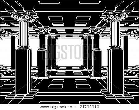 Interieur mit antiken Säulen Vektor