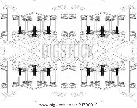 abstrakt Interieur mit antiken Säulen Vektor