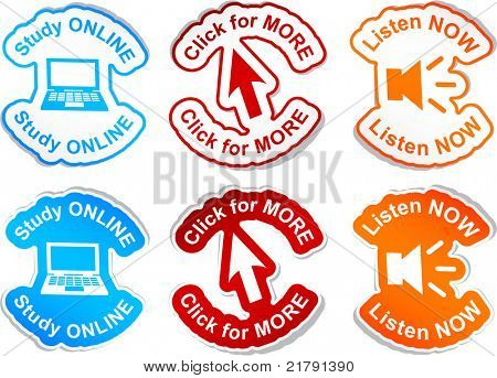 """Study online"", ""click for more"", ""listen now""  vector stickers."
