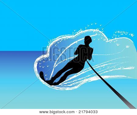 Water-skier Sliding On The Water Surface