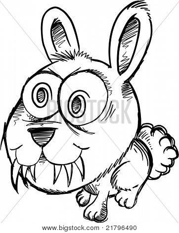 Bosquejo Doodle loco loco Bunny Rabbit