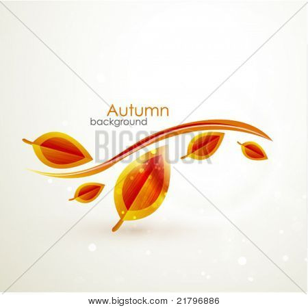 Vector fall background. Orange leaves