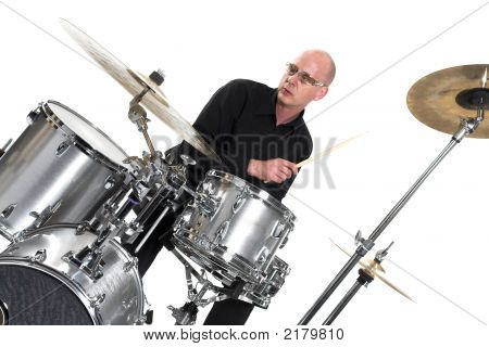 Drummer On White