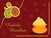 maroon swastika background with sweet pot and isolated rakhi