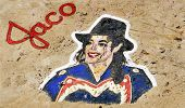 SANTA CRUZ DE TENERIFE, SPAIN - JUNE 18: A Michael Jackson graffiti on a stone of a breakwater on Ju