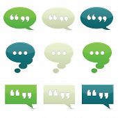 stock photo of quotation mark  - Classically colored chat bubbles with drop shadows - JPG