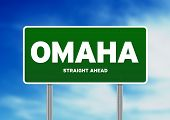 foto of nebraska  - Green Omaha Nebraska USA highway sign on Cloud Background - JPG