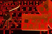The Concept Of Credit Card Theft. Hackers With Credit Cards On Laptops Use These Data For Unauthoriz poster