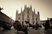 Cathedral Square or Piazza del Duomo in Italian is the center of Milan city in Italy.  poster